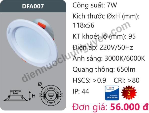 Đèn Led âm trần Downlight Tán Quang Chiếu Sâu 7W DUHAL DFA007