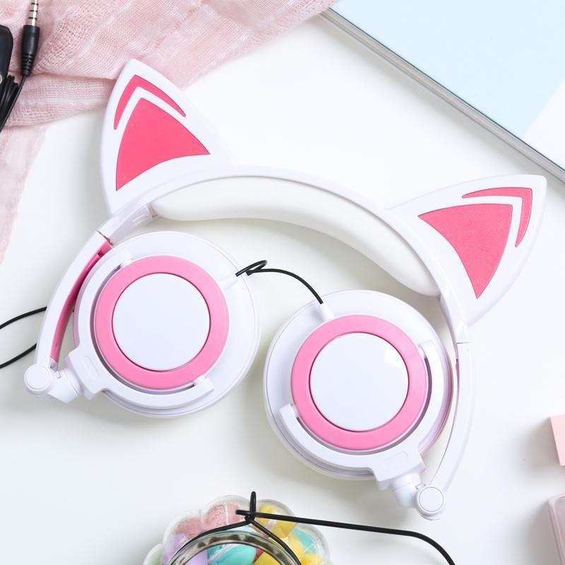 Tai nghe tai mèo TTLIFE màu trắng hồng có led, chất lượng cao