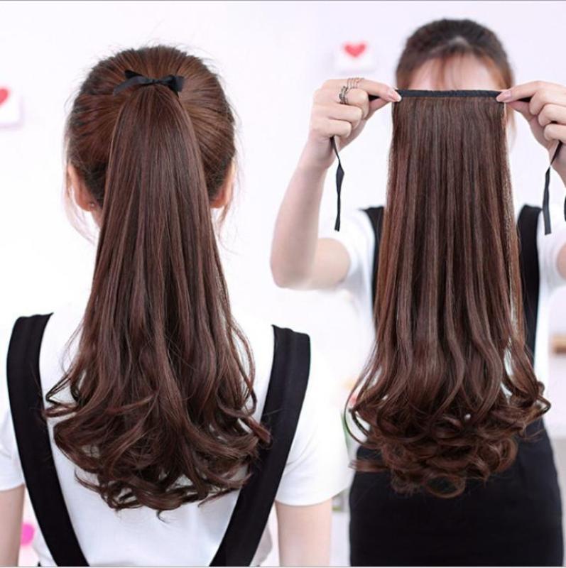 Tóc giả nữ cột xoăn đuôi gà Hàn Quốc cao cấp - TG11435 ( dài 50cm - MÀU NÂU ĐẬM ) nhập khẩu