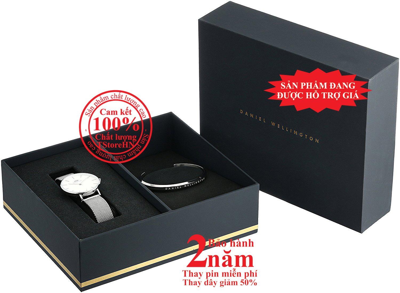 Nơi bán Hộp quà đồng hồ nữ Daniel Wellington Classic Petite Sterling 32mm (Mặt trắng) + Vòng tay DW Cuff - màu bạc (Silver)- DW00500004