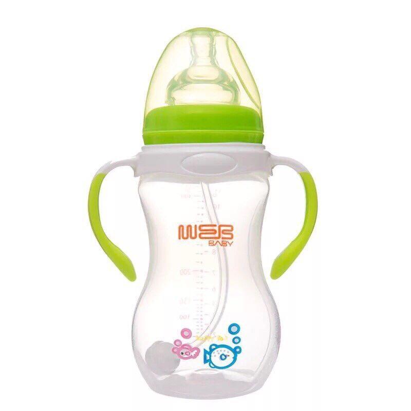 Bình sữa BABY cổ rộng 260ml 320ml chống sặc tốt cho bé, dễ vệ sinh akas