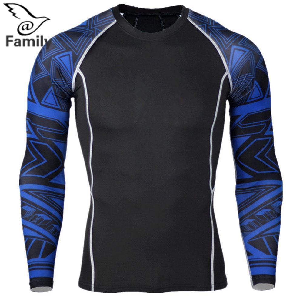 Hình ảnh Big Family:Men's Fitness-Clothing T-shirt Slim Splicing Long Sleeves Sport Jogging Blouse - intl