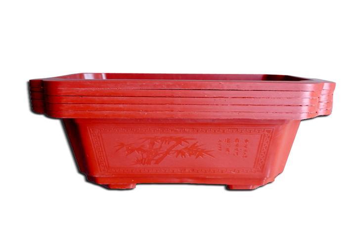 Combo 5 chậu nhựa chữ nhật 32x23x12cm màu nâu đỏ
