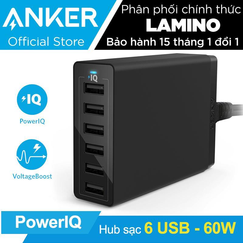 Bán Sạc Anker Powerport 6 Cổng 60W Co Poweriq Đen Hang Phan Phối Chinh Thức Mới