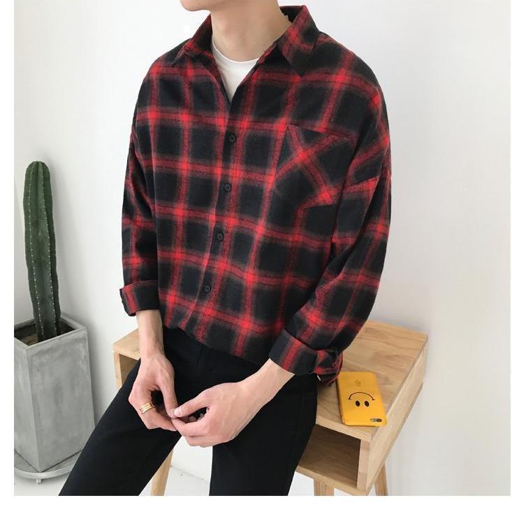Hình ảnh Áo Khoác Unisex ( CÓ HINH THAT) Kiểu Dáng Sơ Mi Caro không nón 3 màu (đen,xanh,đỏ)