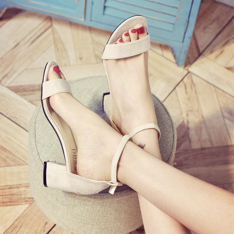 Sandals women Summer 2018 New Style women Shoes Versatile Straight-line  Buckle Hipster High Heel 07f8da4d29