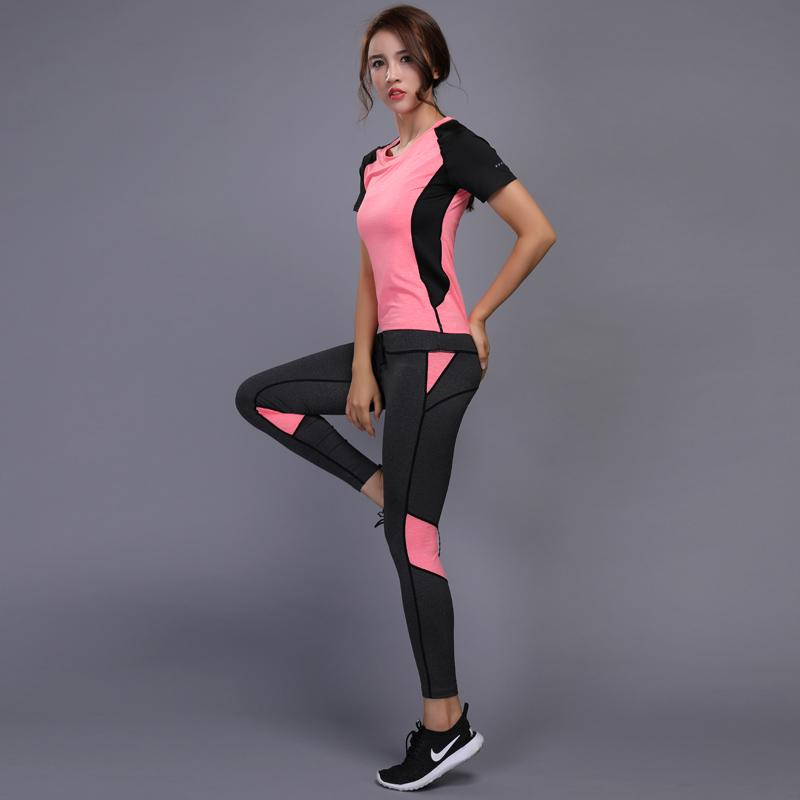 3206f7ab1471 2 Pieces Women Yoga Set Fitness Gym Clothes Running Tennis Shirt+Pants Yoga  Leggings Jogging