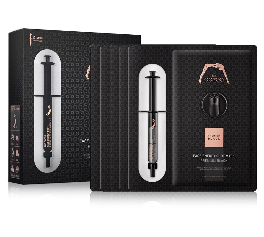Chiết Khấu Hộp 5 Mặt Nạ Ống Tiem Tai Tạo Va Lam Sang Vung Da Xỉn Mau The Oozoo Face Energy Shot Mask Premium Black 30Ml X5 The Oozoo