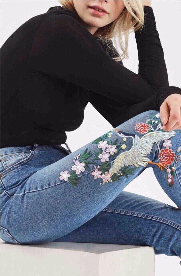 Mua Quần Jeans Nữ Lưng Cao Theu Hoa Chim Cao Cấp Đẹp Store 257 Mới