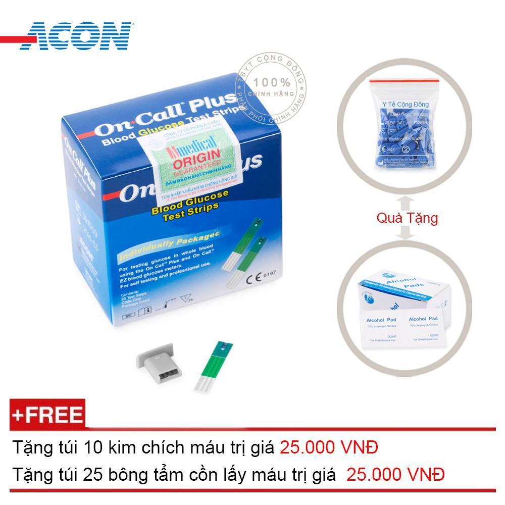 Hình ảnh Que thử đường huyết Acon On call Plus 25 que (Xanh trắng) + Tặng túi 10 kim chích máu + Tặng túi 25 bông tẩm cồn lấy máu