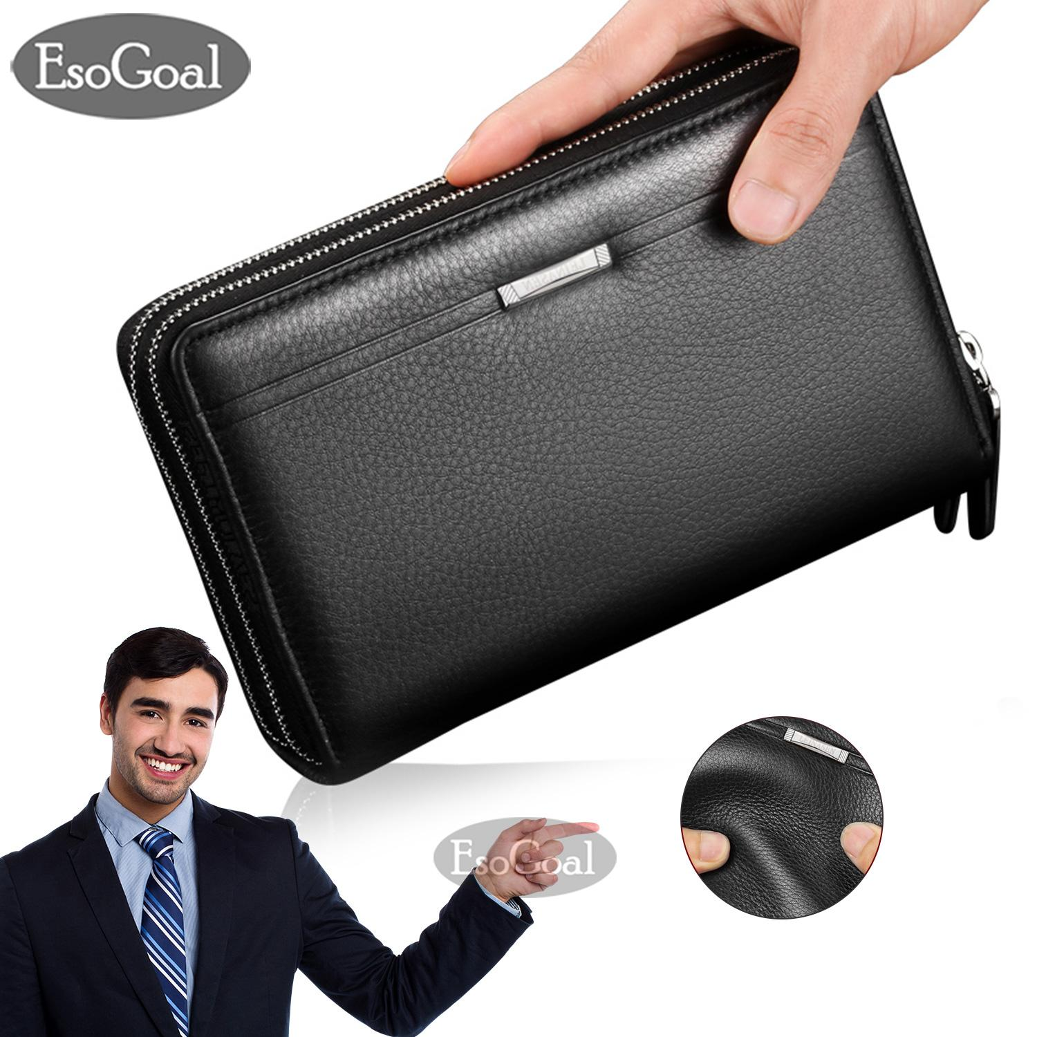 Dompet Pria Esogoal Men Clutch Bag Long Purse Pu Leather Wallet Lichee Handbag Double Zippers Bag Long Zipper Wallet New Professional Men Fashion Leather Hand Bag By Esogoal.