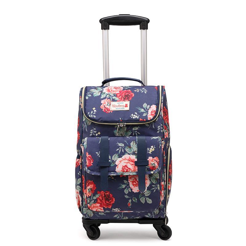 Korah-Back Universal Wheel Pull-rod Shopping Bag Waterproof Travel Luggage Ultra-Light Foldable Students Trolley Bag