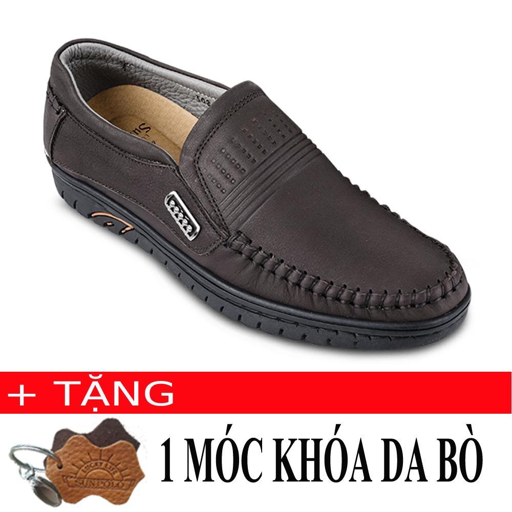 Ôn Tập Giay Mọi Nam Da Bo Sunpolo Ls3028N Nau Tặng Moc Khoa Da Bo