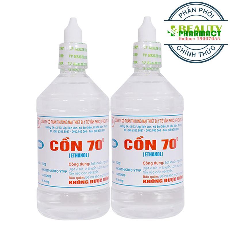 2 Chai Cồn y tế 70 độ Trắng VĨNH PHÚC (500ml/Chai)