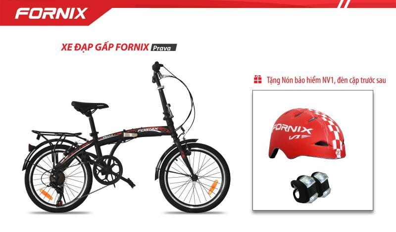 Mua Xe đạp gấp hiệu FORNIX, mã PRAVA   + tặng nón bảo hiểm A01NV1, đèn trước sau