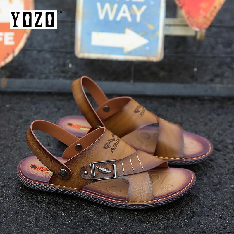1d08c92fd33f4f YOZO Genuine Split Leather Men Slippers Brand Casual Shoes Flip Flops Men  Summer Shoes Men Sandals