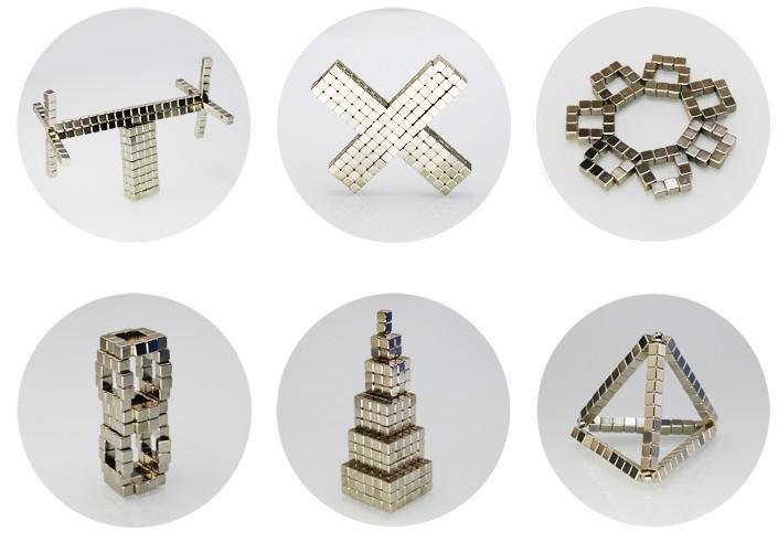 Hình ảnh Nam châm xếp hình(Màu Bạc) 216 viên khối vuông 3mm