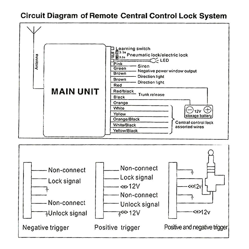 Car Alarm Systems Auto Remote Central Kit Door Lock Vehicle Keyless Locking Wiring Diagram 1 X Operation Instruction