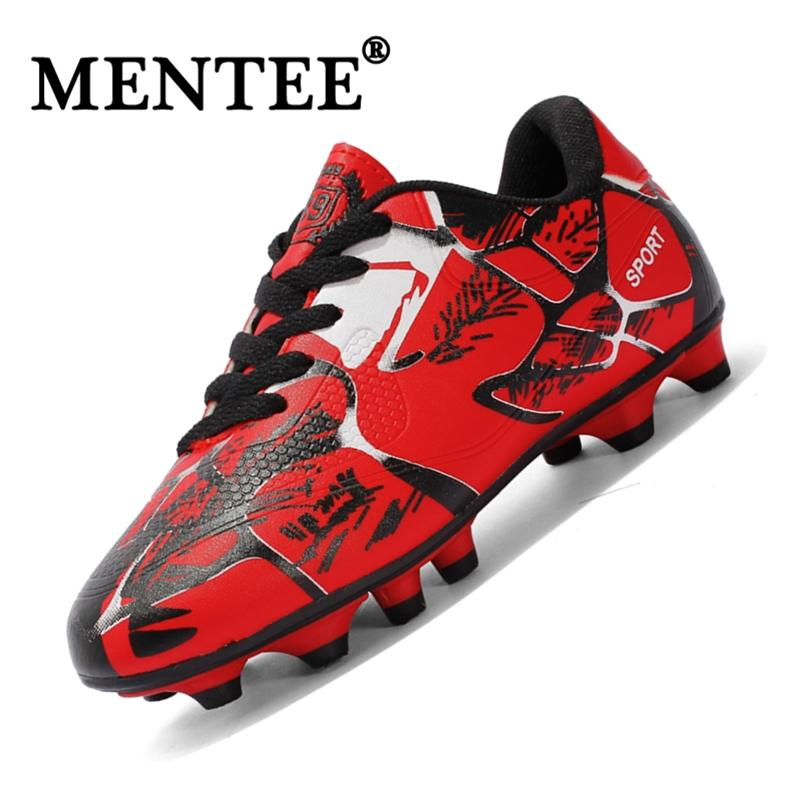 Hình ảnh MENTEE Size 31-43 Breathable PU Men And Kids Soccer Shoes Long Spikes Anti-slip Training Football Shoes Boy And Girl Football Shoes - intl