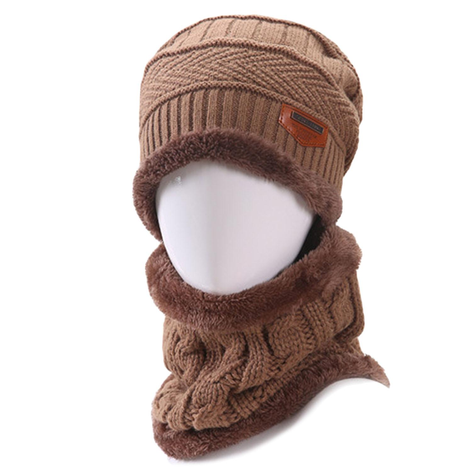 6ee6a200106 2 PCS Unisex Winter Knit Hat And Neck Warmer Scarf Set Men Women Thick  Knitted Skull