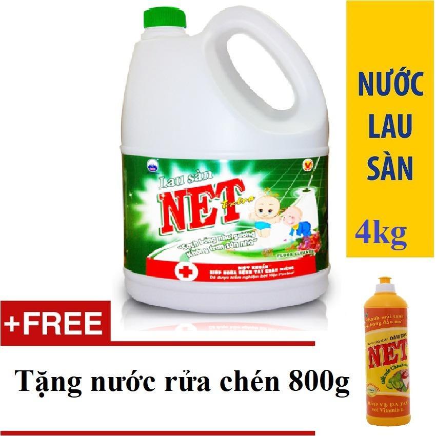 Hình ảnh Nước lau sàn NET Extra Diệt khuẩn can 4kg TẶNG Nước rửa chén 800g