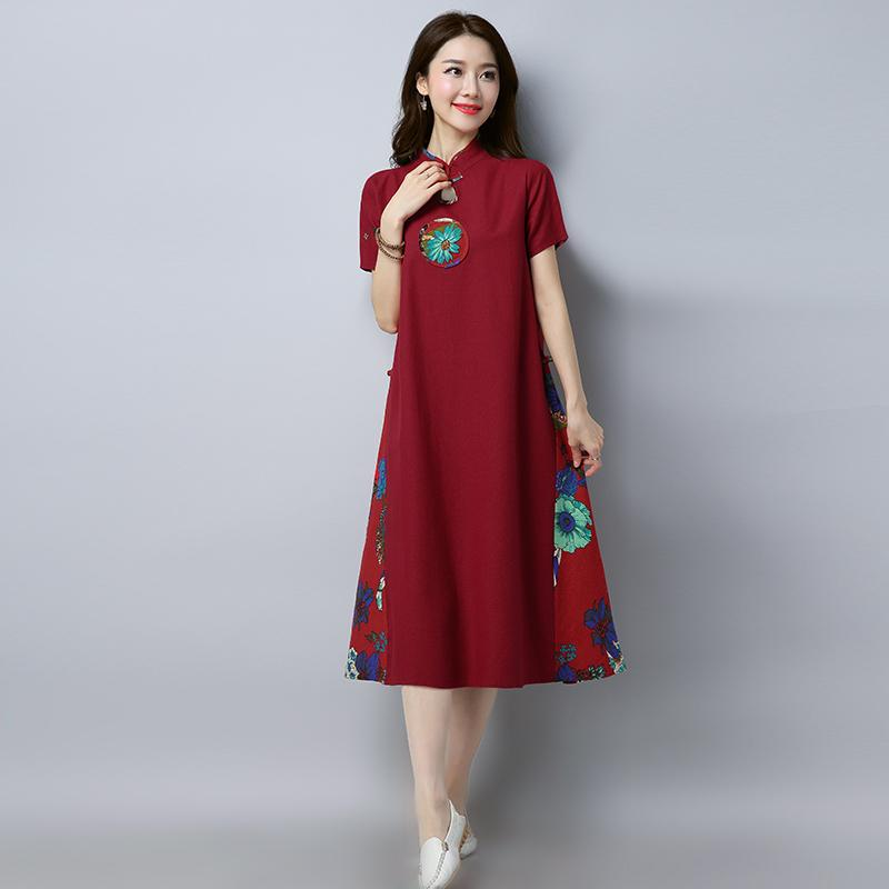 1250b45377 2019 Spring Clothing New Style MIMZF Vintage Women s Dress Cotton Linen  Dress Chinese-style Cheongsam