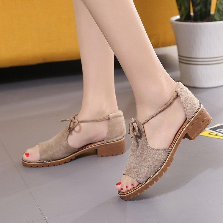 a981e8f9 2019 New Style Bow Low Heel Sandals Female Summer Fish Mouth in Block Heel  Students Versatile