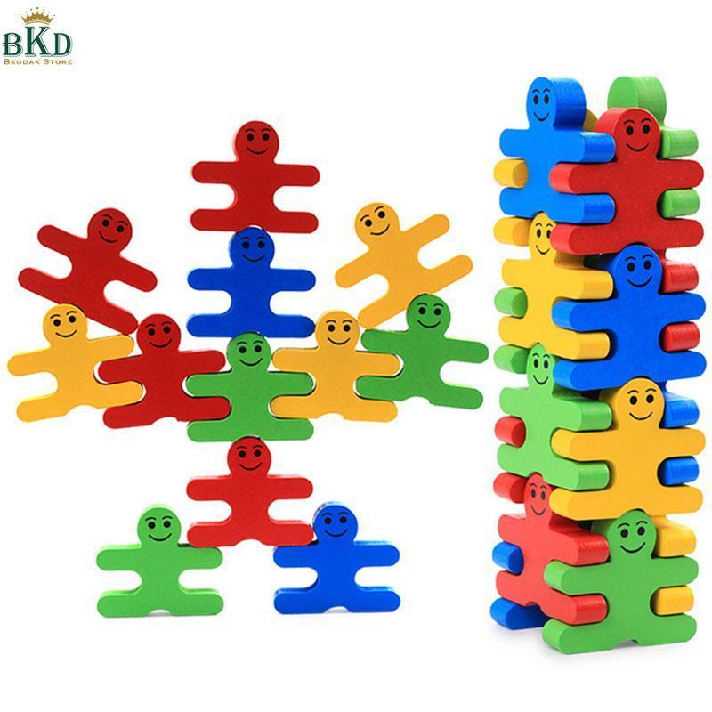 Hình ảnh Wooden Cartoon Building Blocks Educational Game Toy Gifts Children Kids Fun