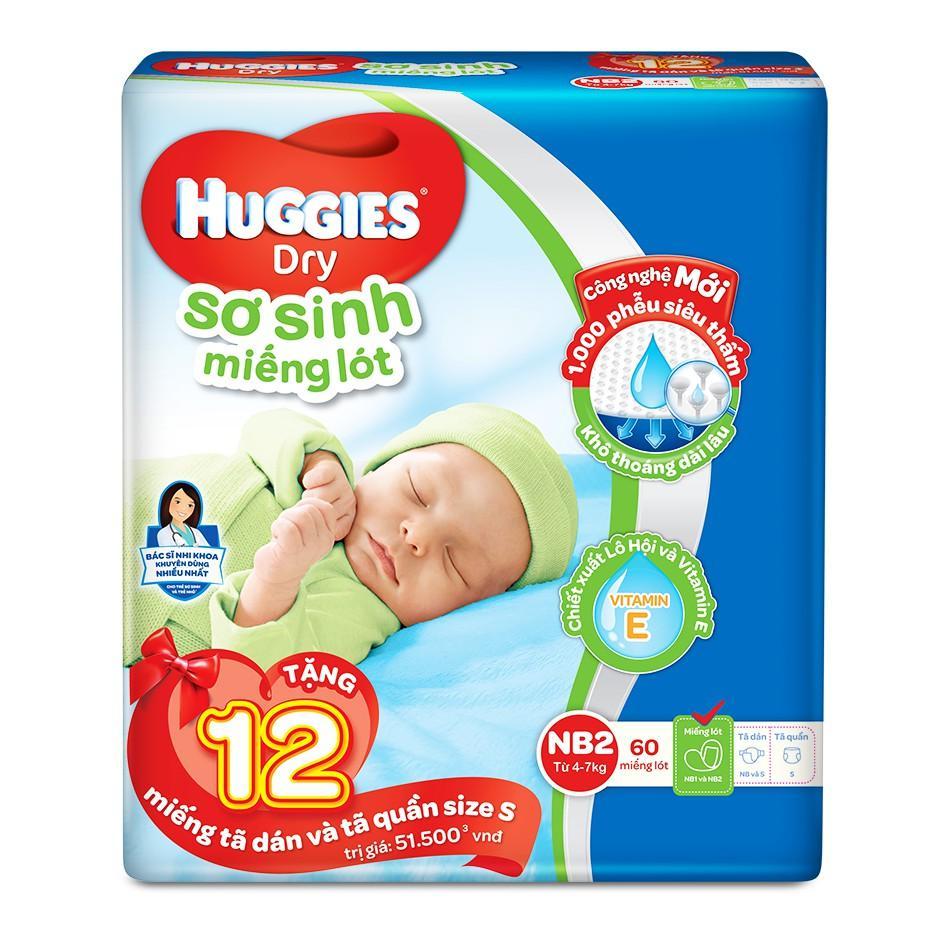 [Tặng kèm 12 miếng] Miếng lót sơ sinh Huggies Newborn 2 NB2-60 Gói 60 miếng