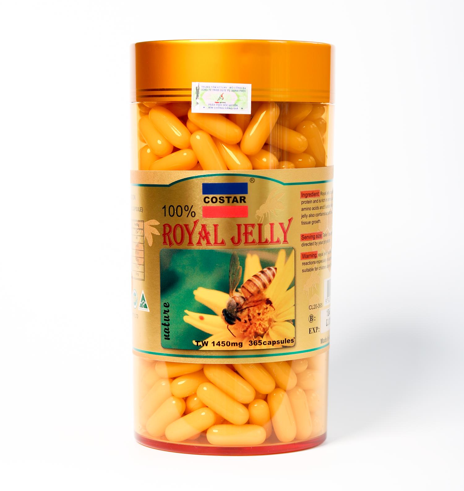 Sữa Ong Chúa úc Costar Royal Jelly Soft Gel Capsules 1450mg (365 viên)