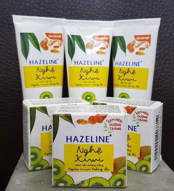 combo 3Kem nén Hazeline dưỡng trắng Nghệ-Kiwi (3g) & 3Sữa rửa mặt Hazeline Nghệ-Kiwi (15g) nhập khẩu