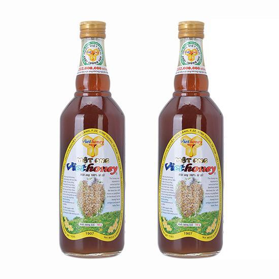 Hình ảnh Bộ 2 chai thủy tinh mật ong Viethoney 700g