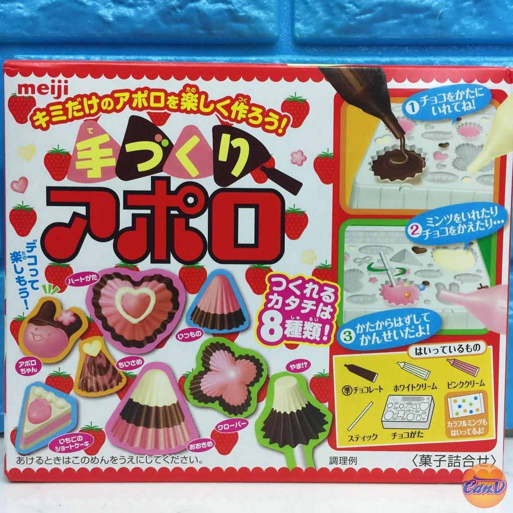 Hình ảnh Popin Poppin Cookin Meiji làm Nấm Chocolate Dâu