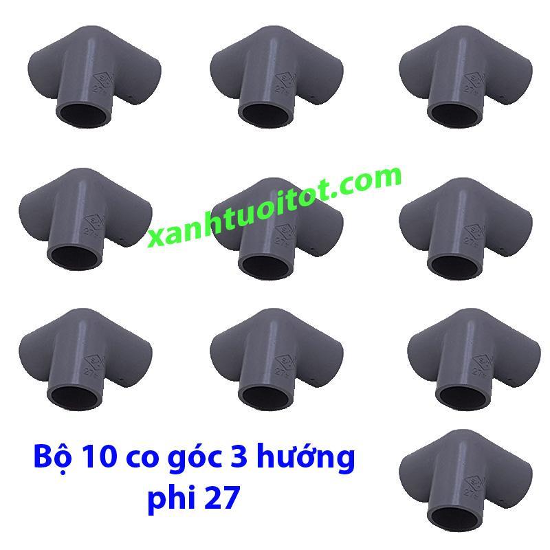 Hình ảnh Co góc 3 hướng phi 27 nhựa PVC màu xám