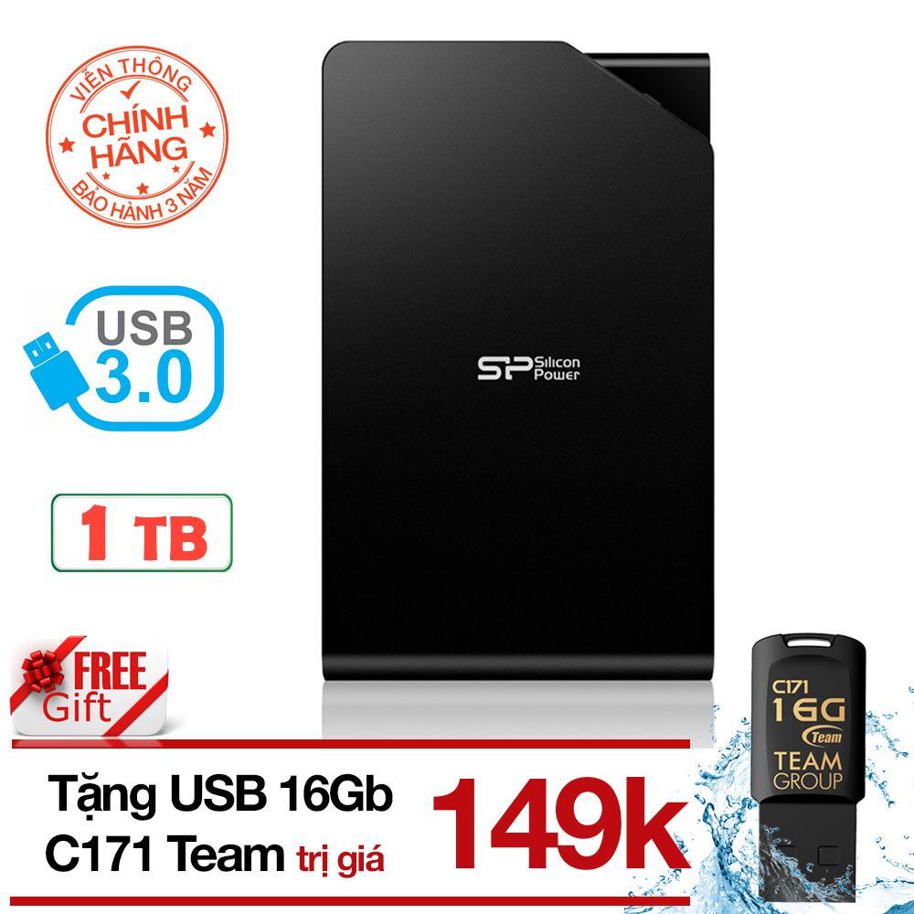 Ổ cứng di động 3.1/3.0 1TB Silicon Power Stream S03 (Đen) - USB 16GB chống thấm nước Team Taiwan C171 (đen) - Hãng phân phối chính thức