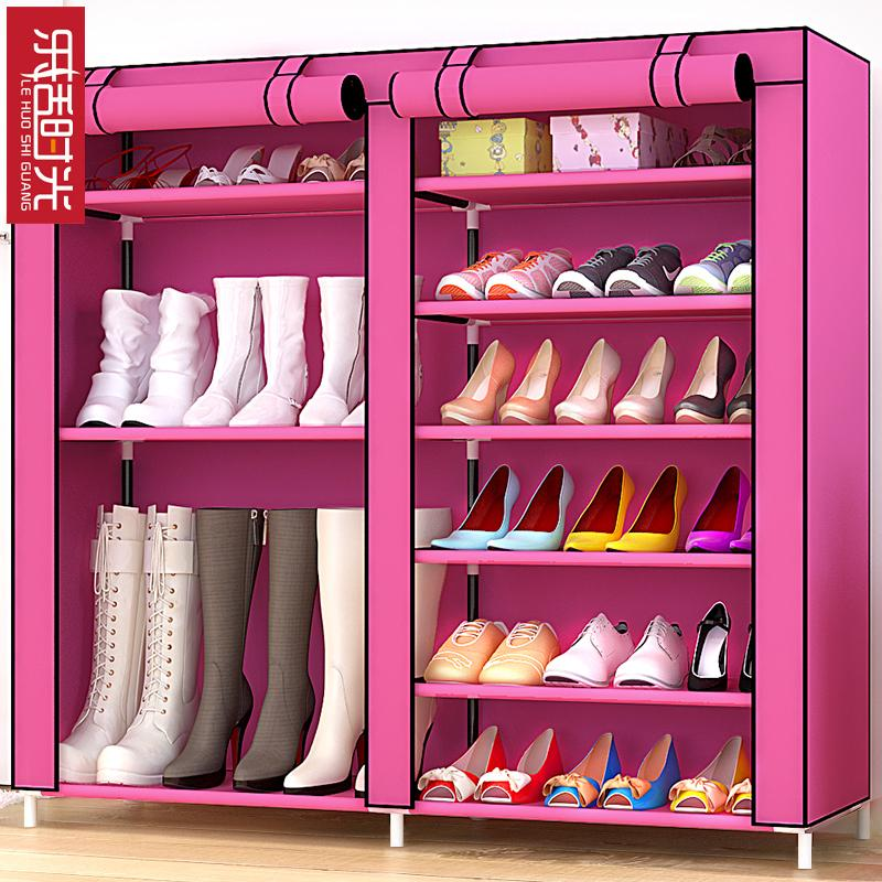 Household Double Door Simple Shoe Rack 6-Layer Combination Double Row Shoe Boots Style Roller Blinds with Zipper Large-Volume