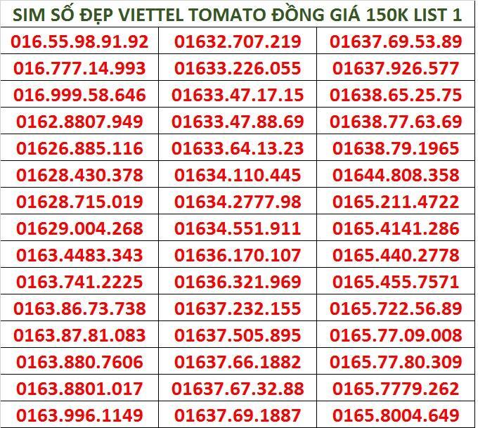 Mua Sim Số Đẹp Viettel Tomato Đồng Gia 150K Rẻ
