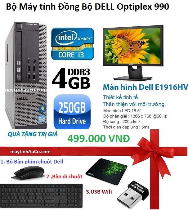 Bán Bộ May Tinh Đồng Bộ Dell Optiplex 990 Core I3 2100 4G 250G Man Hinh Dell 18 5Inch Wide Led Tặng Ban Phim Chuột Fpt Usb Wifi Ban Di Chuột Bỏa Hanh 24 Thang Hang Nhập Khẩu Rẻ Hà Nội
