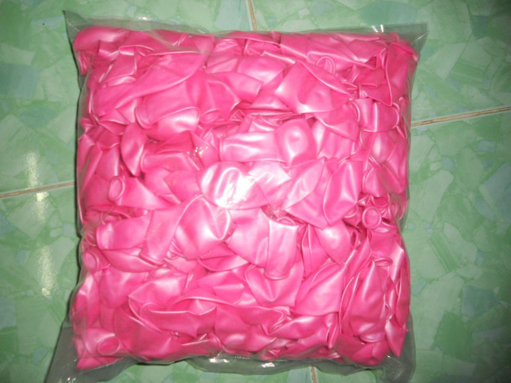 Hình ảnh combo 100 vỏ bóng bay màu hồng nhũ