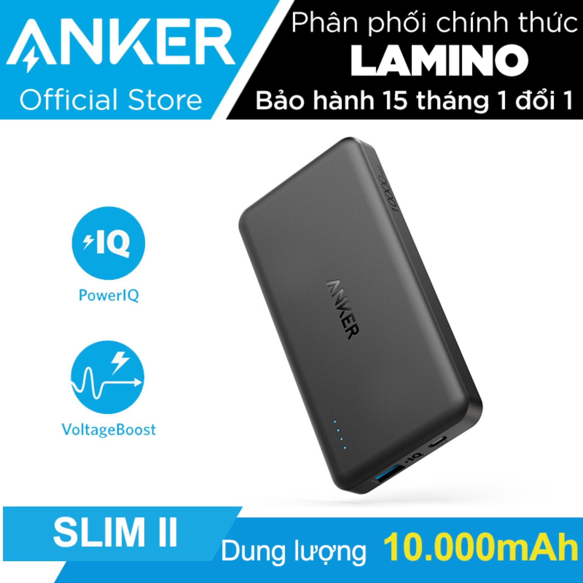 Giá Bán Pin Sạc Dự Phong Sieu Mỏng Anker Powercore Ii Slim 10000Mah Đen Hang Phan Phối Chinh Thức