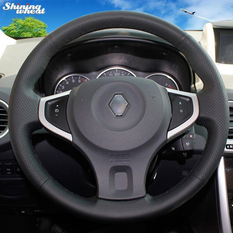 Bersinar Gandum Dijahit Tangan Hitam Kulit Roda Kemudi Mobil Cover untuk Renault Koleos 2009-2014 (Benang Hitam,-) -Intl