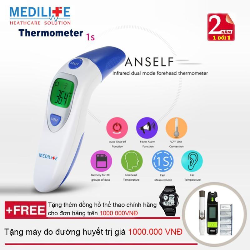 Nhiệt kế điện tử hồng ngoại đo tai và trán Medilife IT - 121 + Máy đo đường huyết Uright TD - 4265 + Mua 2 sản phẩm tặng thêm đồng hồ thể thao bán chạy