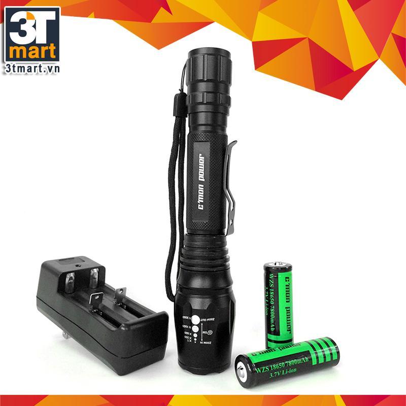 Mua Bộ 1 Đen Pin Sieu Sang C Mon Power Tactical Xml T6 Led 10W 2200Lm Chiếu Xa 500M 2 Pin Sạc Lithium 7800Mah 1 Bộ Sạc Đoi Đen