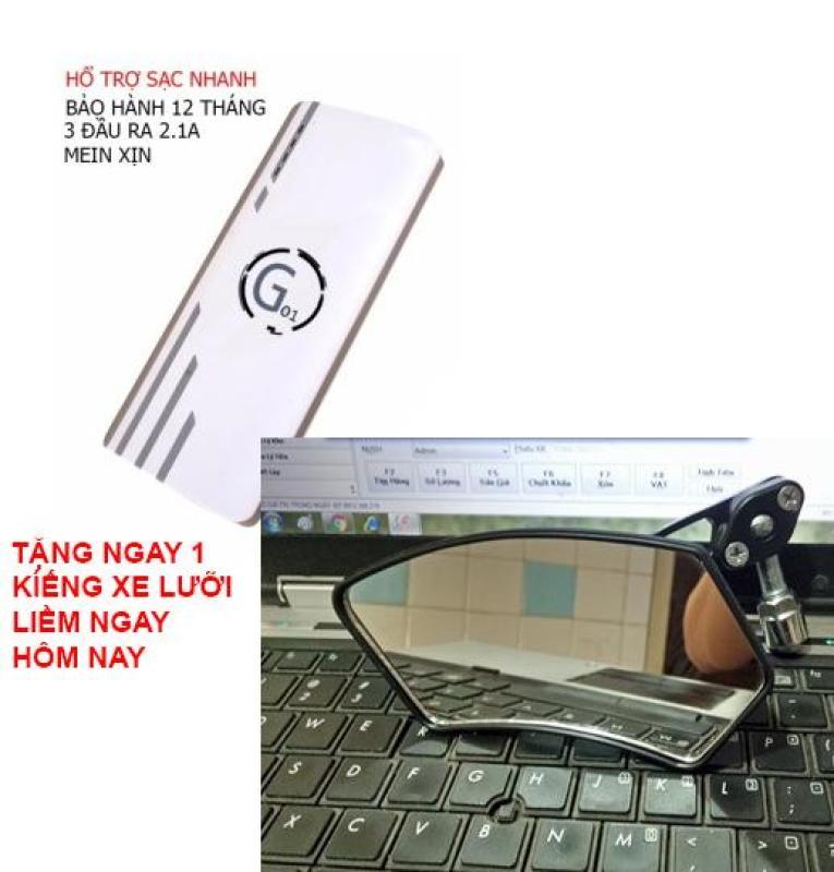 Bảng giá Pin sạc dự phòng G01 Litinum 20000MAH (Trắng) - hổ trợ sạc nhanh +Tặng ngay 1 kiếng xe lưỡi liềm AD Phong Vũ