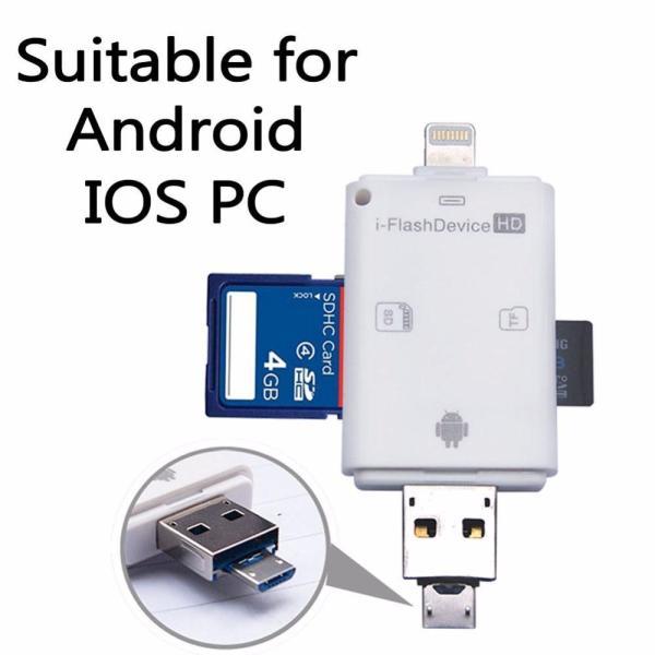Bảng giá 3 in 1 i Flash Drive USB Micro SD SDHC TF Card Reader Writer for iPhone 5/5s/6/6 plus/ipad/Samsung OTG Phones - intl Phong Vũ