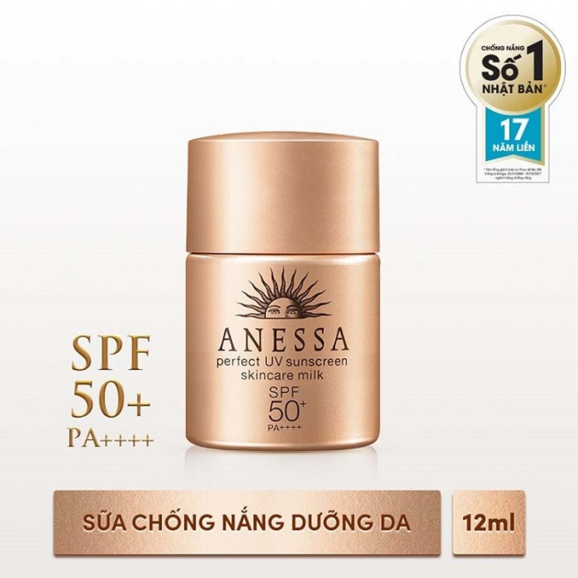 Sữa chống nắng bảo vệ hoàn hảo Anessa Perfect UV Sunscreen Skincare Milk SPF 50+, PA++++ 12ml