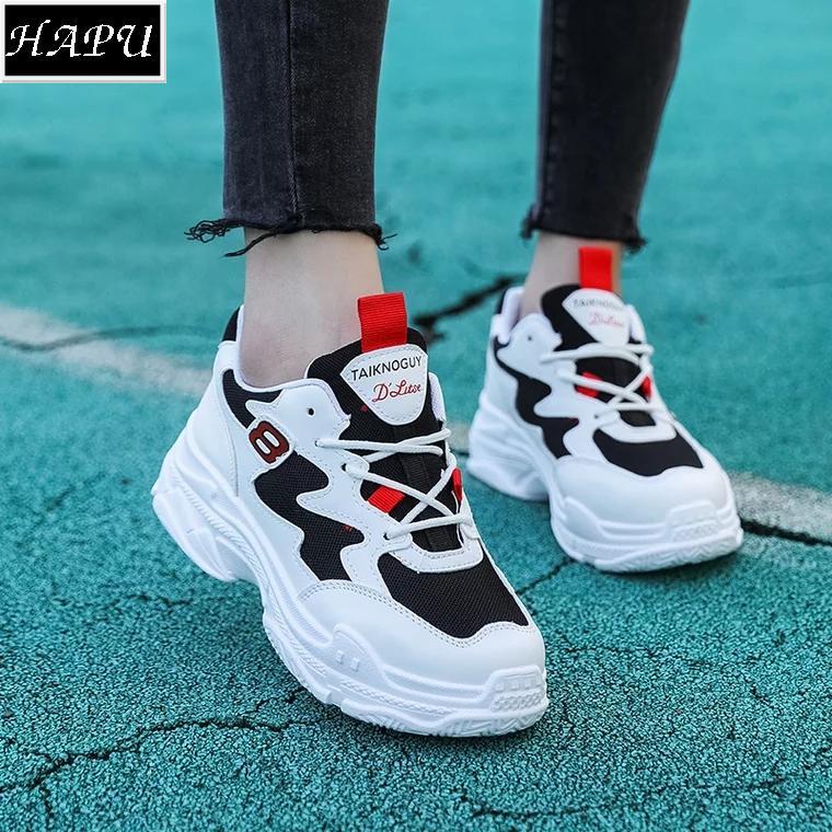 Mã Khuyến Mại Video Thực Tế Hot Trend Giay Sneaker Nữ Độc Đao 8 Fashion Hapu Trắng Pha Đen Trắng Chữ Đỏ Trắng Chữ Hồng Trong Hà Nội