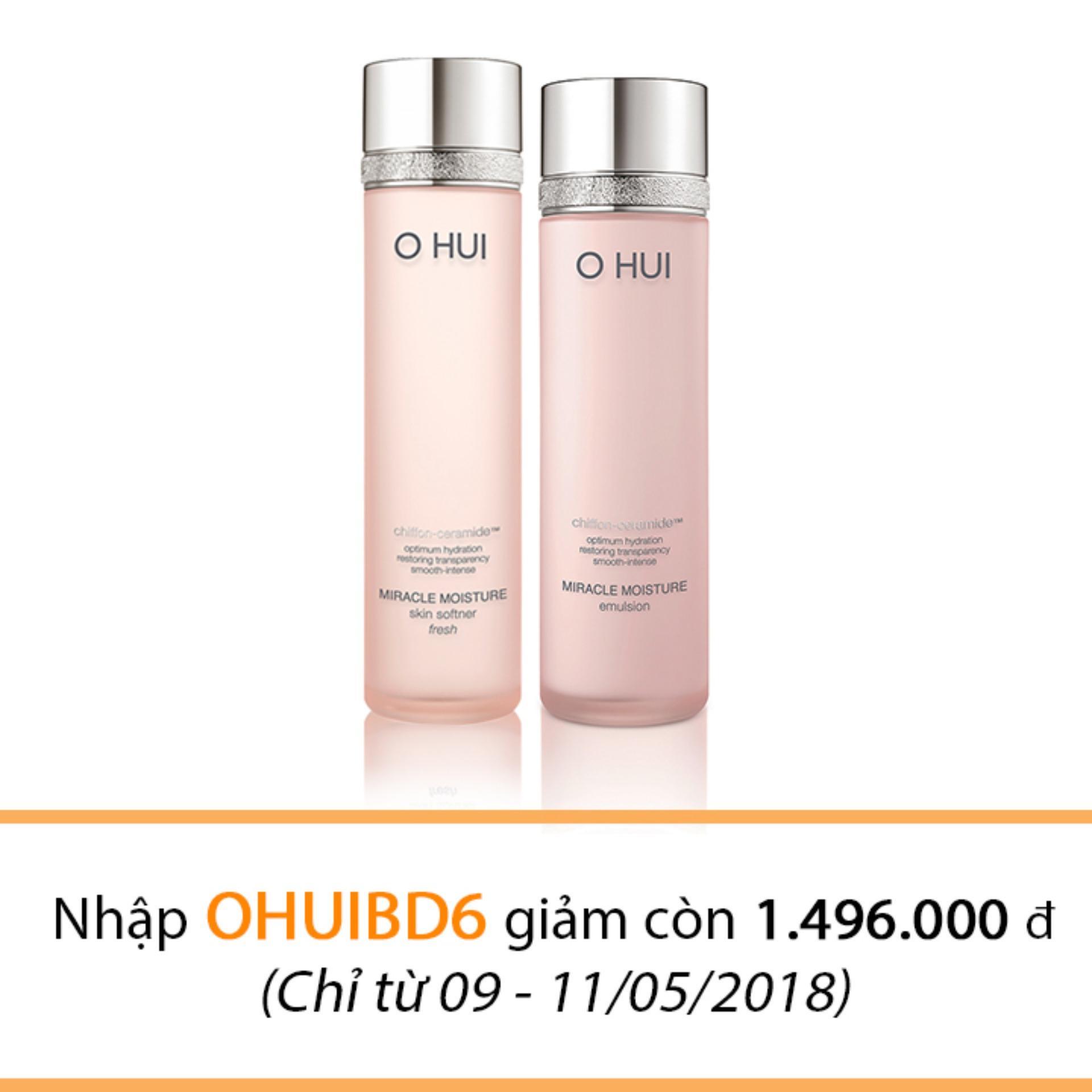 Giá Bán Nước Hoa Hồng Va Sữa Dưỡng Ohui Miracle Moisture Skin Softener Fresh 150Ml And Emulsion 130Ml Tốt Nhất