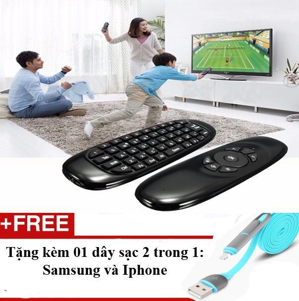 Ôn Tập Điều Khiển Từ Xa Cho Mọi Tivi Co Cổng Usb Co Ban Phim Chuột Bay Chuột Air Mouse Tặng 01 Day Sạc Điện Thoại Cho Iphone Va Samsung