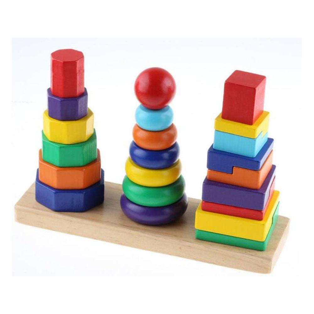 Hình ảnh Tháp xếp chồng gỗ 3 cọc Montessori